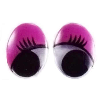 OVAL MOVABLE EYES WITH PRINTED EYELASH