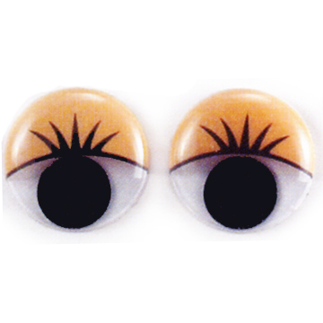 ROUND MOVABLE EYES WITH PRINTED EYELASH